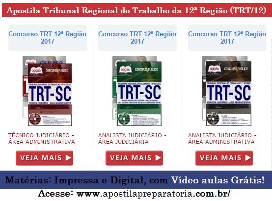 Apostila TRTSC (12ª Região) - Analista Judiciário + Vídeo aulas Grátis