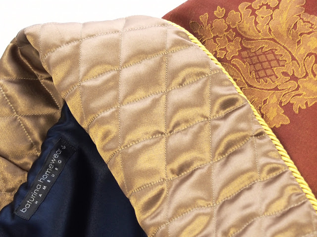 dressing gown silk trimmed quilted jacquard baroque paisley luxury men red gold long housecoat robe classic