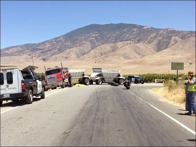 arvin motorcycle fatality highway 223 big rig crash tower line road kern county