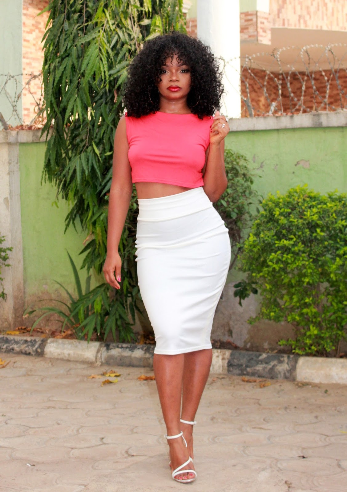 RED + WHITE - Red crop top from Boohoo, White midi skirt and white ankle strap sandals from Zara