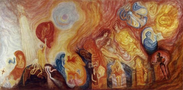 Hommage à Johannes Wolfgang Von Goethe : Rudolf Steiner (25 février 1861 à Donji Kraijevec, Croatie/Empire austro-hongrois - 30 mars 1925 à Dornach, Suisse) est un philosophe, occultiste et penseur social. Il est le fondateur de l'anthroposophie, qu'il qualifie de « chemin de connaissance », visant à « restaurer le lien entre l'Homme et les mondes spirituels ». Ses adeptes le considèrent généralement à la fois comme un homme de connaissance et un guide spirituel doué de pouvoirs surnaturels (clairvoyance). Il est l'auteur de cette magnifique murale peinte dans le ''Goetheanum'' majestueuse bâtisse située à Dornach enSuisse, dédiée à son ami Goethe. Membre de la Société théosophique puis secrétaire général de la section allemande en 1902, il s'en sépare dix ans plus tard pour fonder la Société anthroposophique Son enseignement est à l'origine de projets aussi divers que les écoles Waldorf, l'agriculture biodynamique, les médicaments et produits cosmétiques Weleda, le mouvement Camphill et la Communauté des Chrétiens.