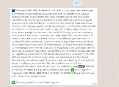 El mensaje falso que se expande en Whatsapp