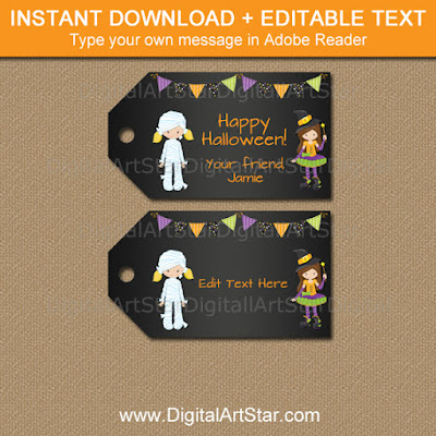 halloween mummy and witch tags with editable text