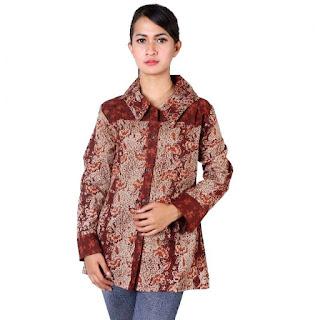 Desain Model Batik Kerja Wanita Lengan Panjang