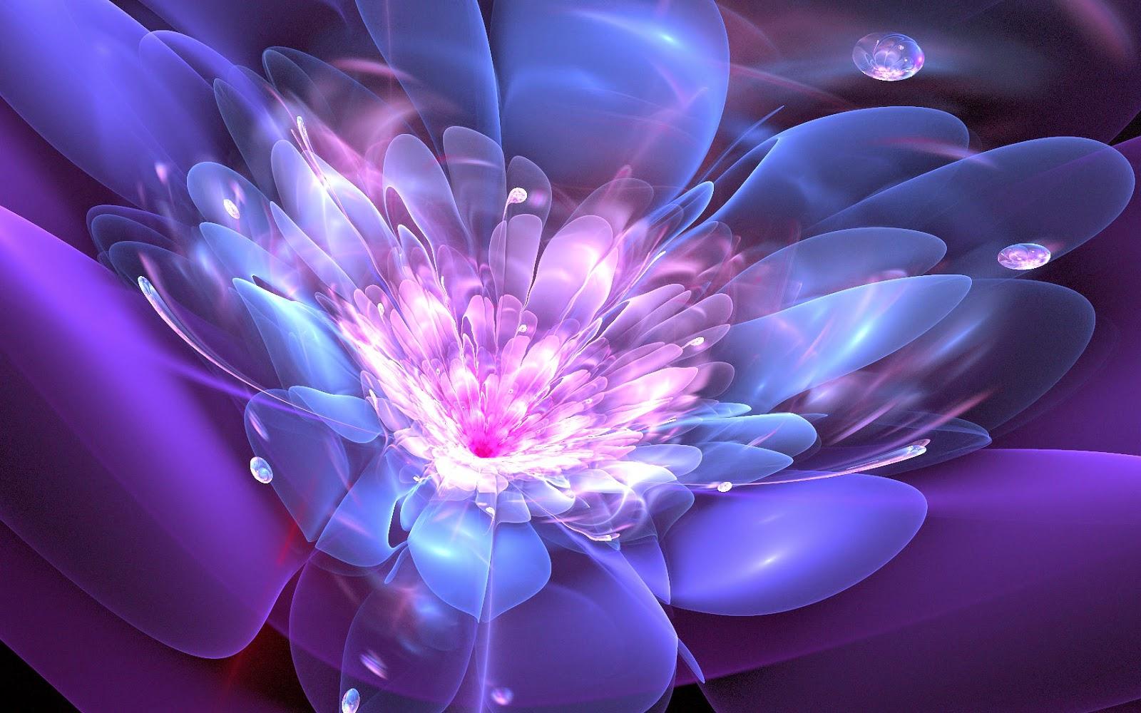 Abstracte blauw paarse lichtgevende bloem in 3D