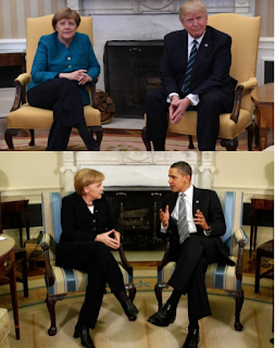 Photos: Merkel with Donald Trump VS Merkel with Obama