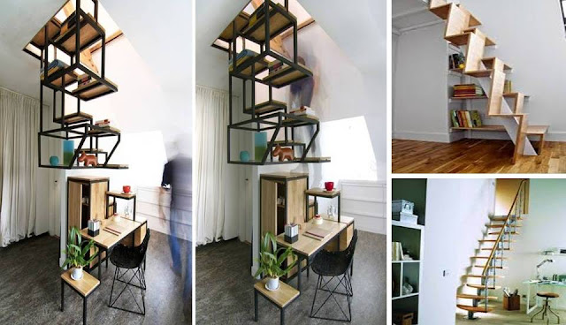 Suspended Staircase Provides Desk And Shelf Space