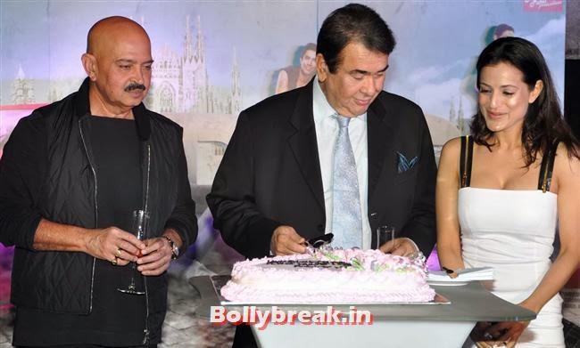 Rakesh Roshan, Randhir Kapoor and Amisha Patel, Hot Amisha Patel in White Dress at Desi Magic Poster Launch