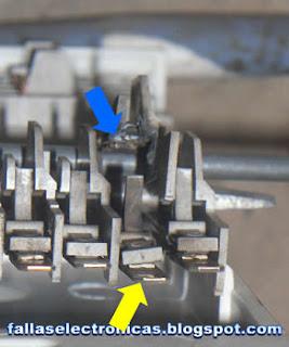 contactos quemados de programador de lavadora