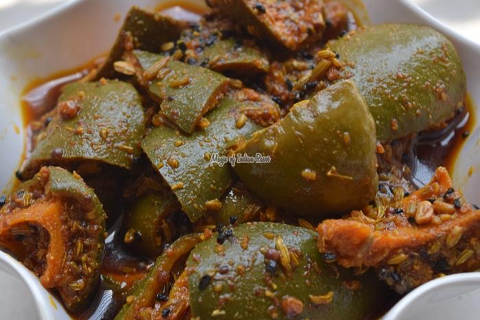 Sindhi Raw Mango Pickle with Oil - Punjabi Sindhi Style Aam Ka Aachar with Sarso Oil - Priya R - Magic of Indian Rasoi