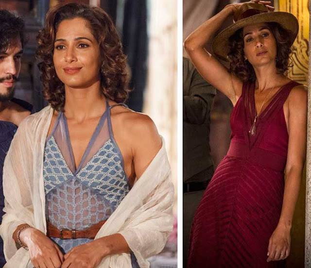 Maria Tereza (Camila Pitanga)  figurino, Velho Chico, vestido vermelho e outro