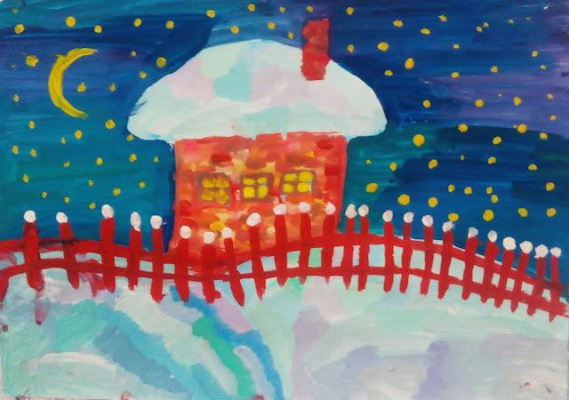 """этот рисунок Настя назвала """"Зима в Простоквашино"""""""