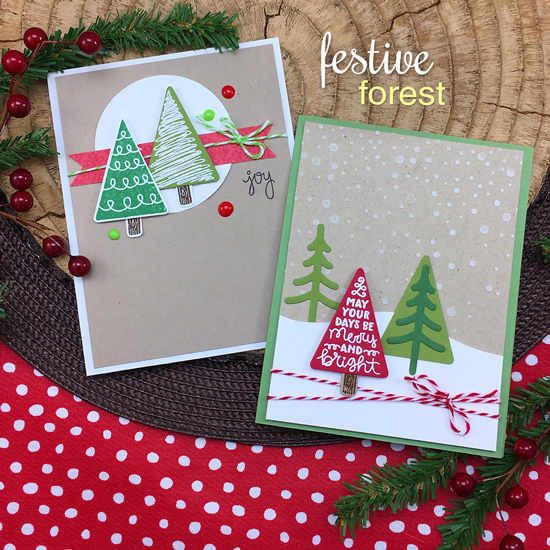 Christmas Tree Cards by Jennifer Jackson | Festive Forest Stamp Set by Newton's Nook Designs #newtonsnook