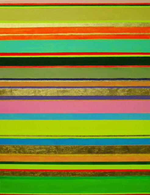 Quergestreiftes modernes Bild bunte Streifen mit Acryl und Blattgold auf Leinwand