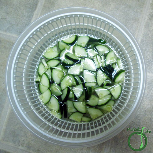 Morsels of Life - Chinese Cucumber Salad Step 2 - Dissolve salt in enough water to cover cucumber by about 1 inch. Soak for about 30 minutes, then rinse well and drain. A salad spinner may be helpful here.  (optional)