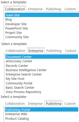 sharepoint 2013 blog template - sharepoint 2013 default sitecollection templates
