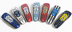 Sky+HD remotes bearing the crests of Arsenal, Chelsea, Everton, Liverpool, Manchester City, Newcastle United and Tottenham Hotspur