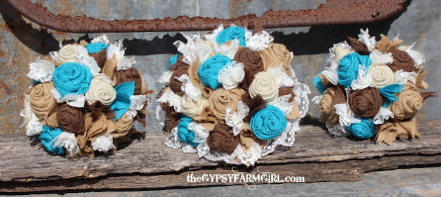turquoise and brown wedding bouquets