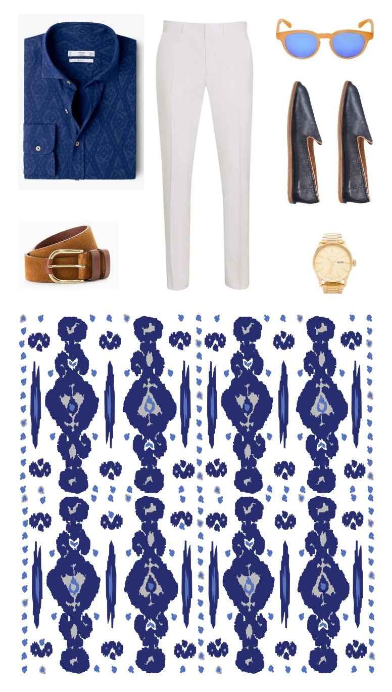 Menswear outfit, ikat print