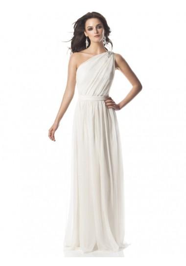 A-Linie aus Chiffon 1-Schulter Weiße einfacher Abendkleider