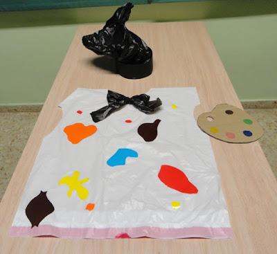 disfraz de pintor con bolsa basura