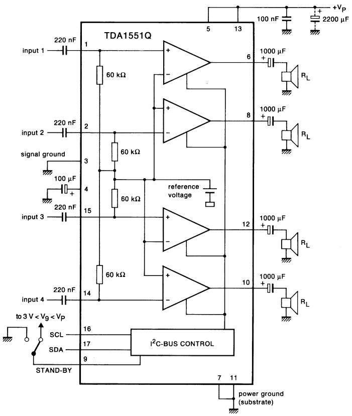 2 x 22 w btl car radio power amplifier with diagnostic