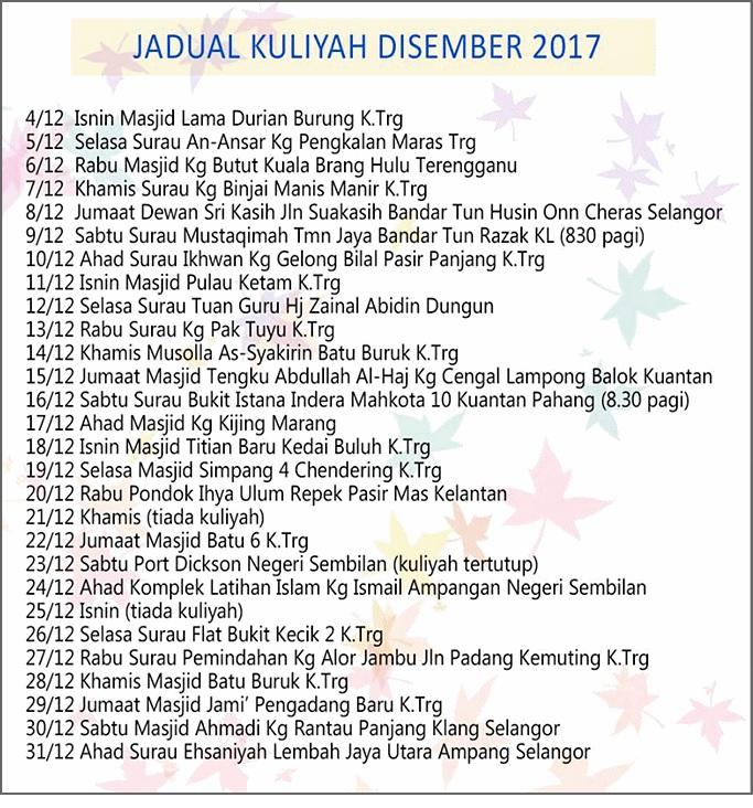 Jadual ceramah uai bulan disember 2017