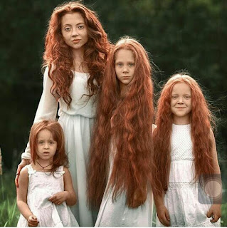 Hair Goals!... Mother and daughters show off their long red hairs