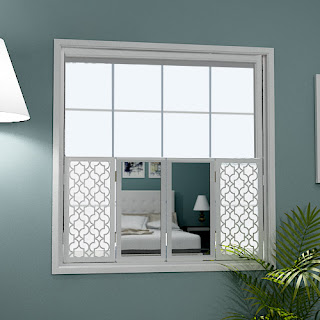 Cafe style mirror shutters with moroccan grilles