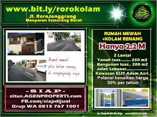 Cari rumah dijual di Jl. Rorojongrang MANYARAN Semarang Barat? bit.ly/rorokolam Rumah mewah design minimalis di Kawasan Elit yang masih Adem dan Asri.  HARGA SUPER MURAH. Hanya Rp.2,2 Miliar Rumah 2 Lantai