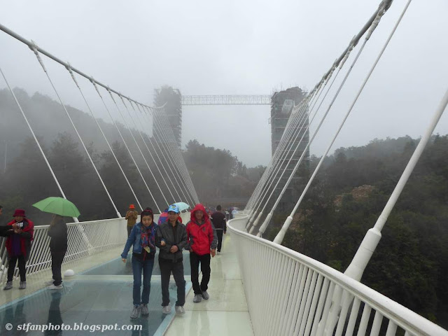 Suspended frame work and pillars of the Zhangjiajie Grand Canyon Glass Bridge.