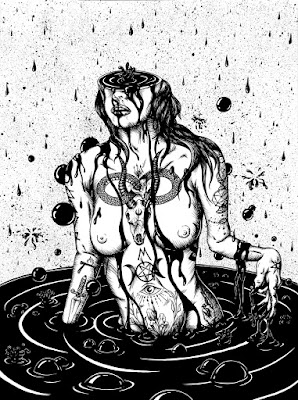 The Well black and white ink drawing by Daryll Peirce