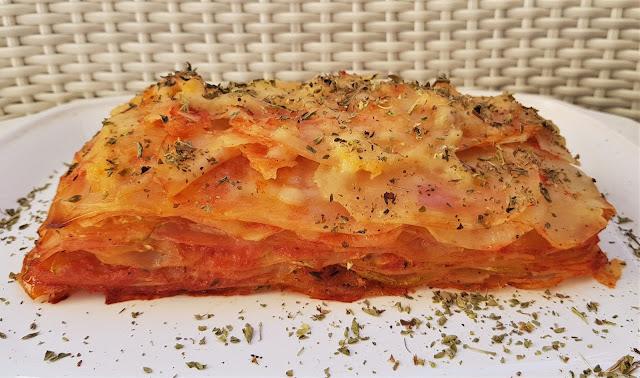 Milhojas de patata y calabacín con queso vegano