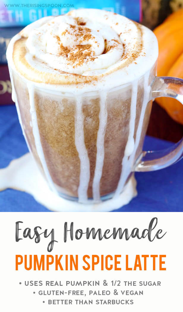 Learn how to make a cozy homemade pumpkin spice latte on the stovetop in minutes using a blend of canned pumpkin puree, extra strong coffee, your favorite sweetener & milk, pumpkin pie spice, and vanilla extract. This easy recipe tastes decadent but is secretly healthy since it has half the sugar of the Starbucks version. {gluten-free, paleo & vegan}