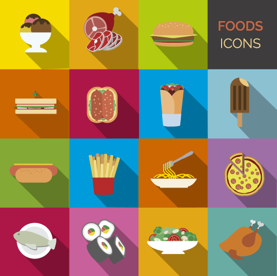Set de iconos de comidas - vector