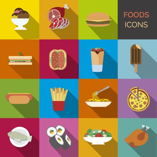 Set de iconos de comidas - vector