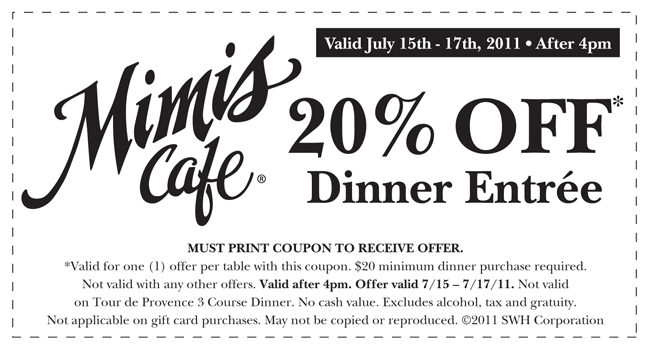 photo relating to Mimi's Coupons Printable titled Entertaining Inexpensive or No cost Discount coupons Discounts: Mimis Restaurant coupon, 20