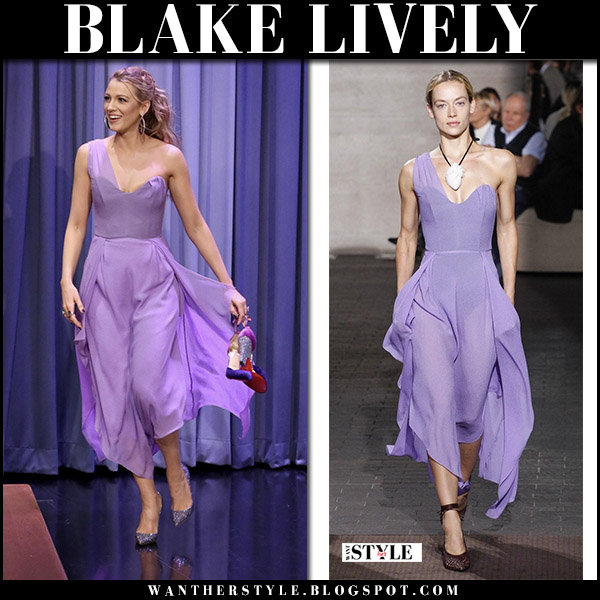 Blake Lively in lilac one shoulder dress roland mouret and glitter pumps christian louboutin so kate october 13 2017 tv appearance fashion