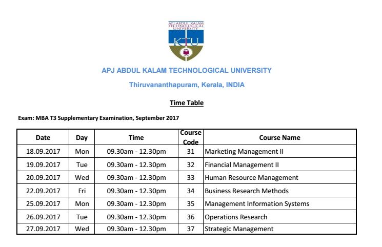 MBA T3 Supple Exam | Time Table | September 2017