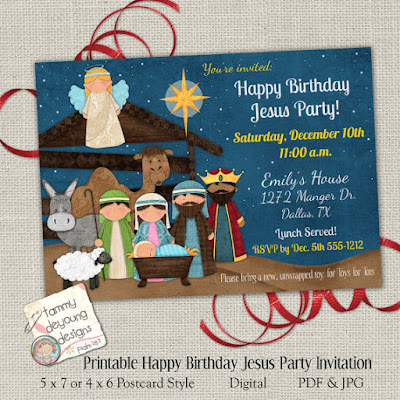 Christmas Nativity party invitation and announcement