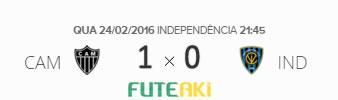 O placar de Atlético-MG 1x0 Independiente del Valle-EQU pela 2ª rodada da Copa Libertadores da América 2016.