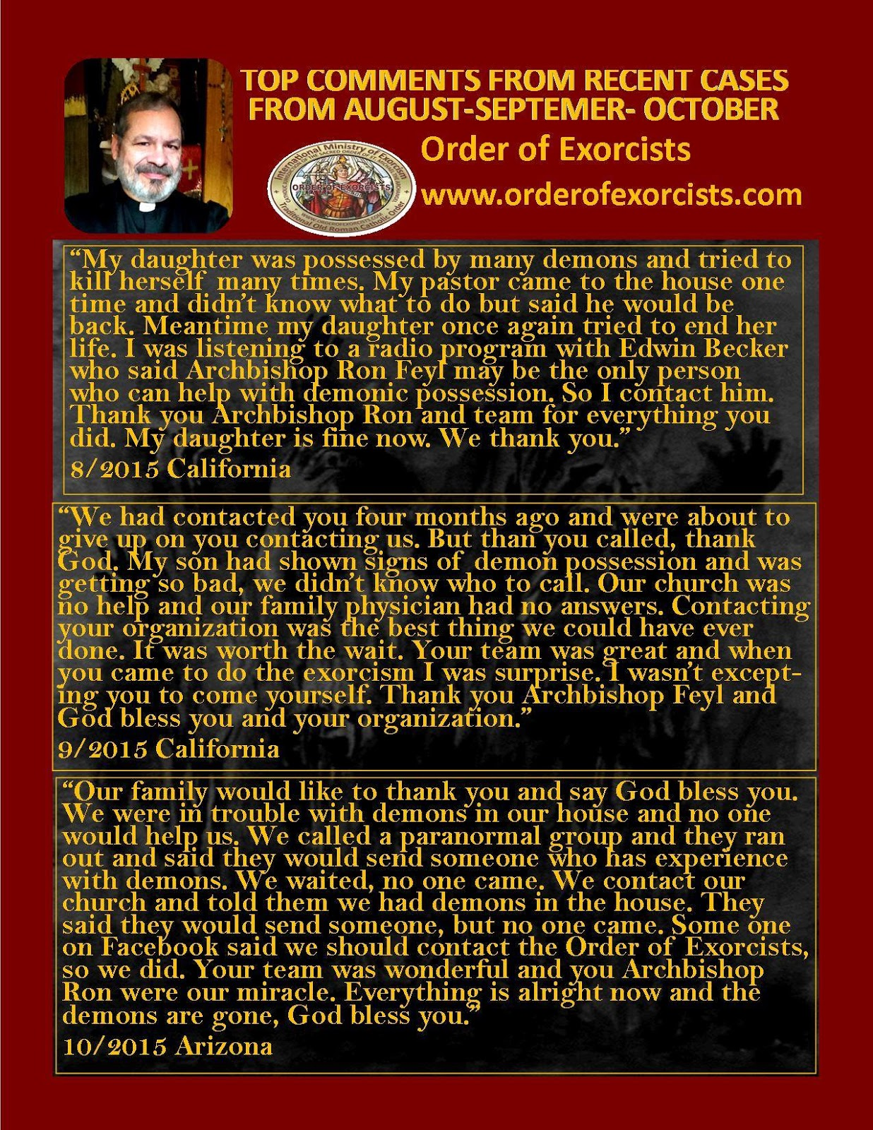 Order of exorcists the sacred order of saint michael the archangel the declaration of war has been made from archbishop ron feyl and the warrior members of the order of exorcists solutioingenieria Images