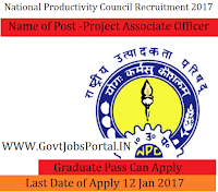 National Productivity Council Recruitment 2017 – Project Associate Officer