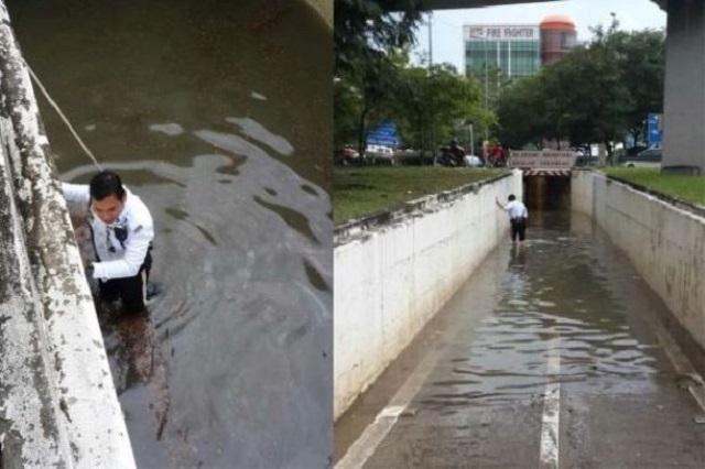 Tabik Kat Abang Polis, Sanggup Redah Air Bersih Laluan Tersumbat