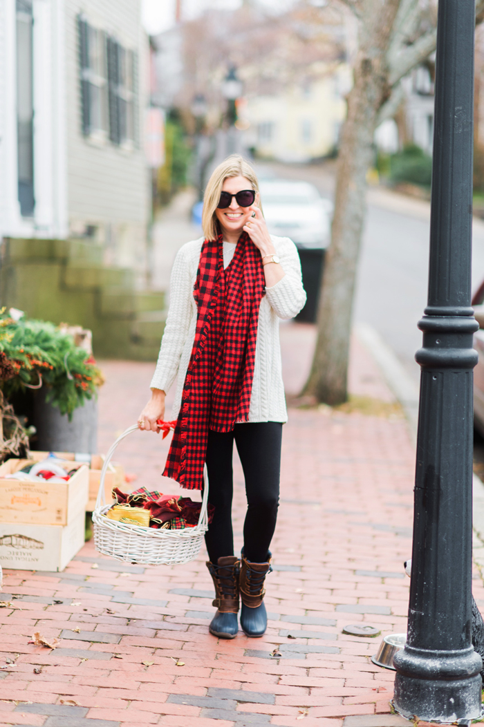 J.Jill Mixed Buffalo Plaid Scarf in true red/black