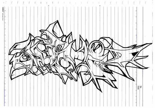 Aple Graffiti Mural: 12 Graffiti Drawings in Paper (example)