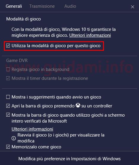 Finestra impostazioni Barra di gioco Windows 10
