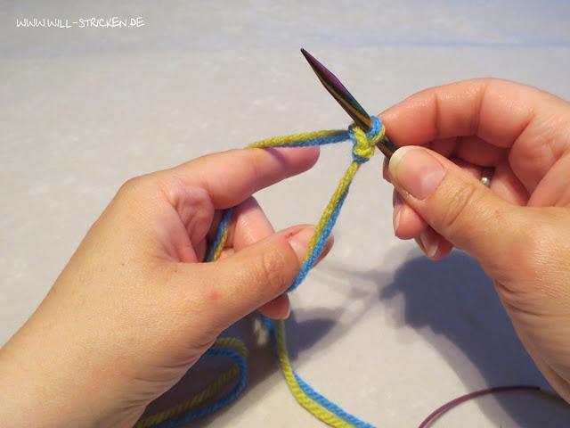Laufknoten als Anfangsschlinge beim Stricken - fertig