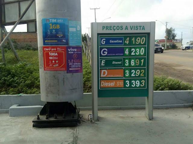 Postos de combustíveis em Delmiro Gouveia, aumentam o preço do litro de gasolina para R$ 4,19
