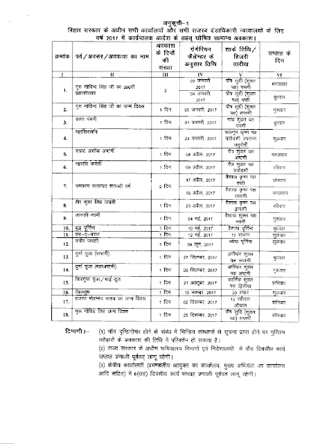 Bihar Government Calendar